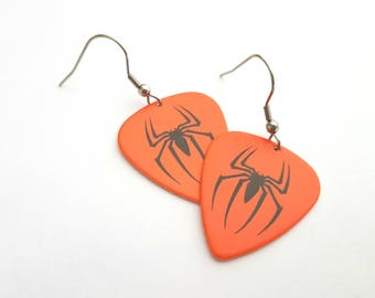 Red Spiderman Guitar Pick Earrings with Stainless Steel Earwires