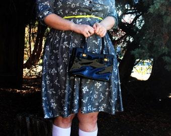 Vintage - 1960's Black Patent Handbag w/ Gold Hardware