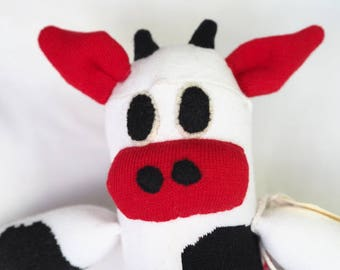 Clara Cow. Handmade sock cow, sock monkey, soft plush cow, toy cow for children. Softie.