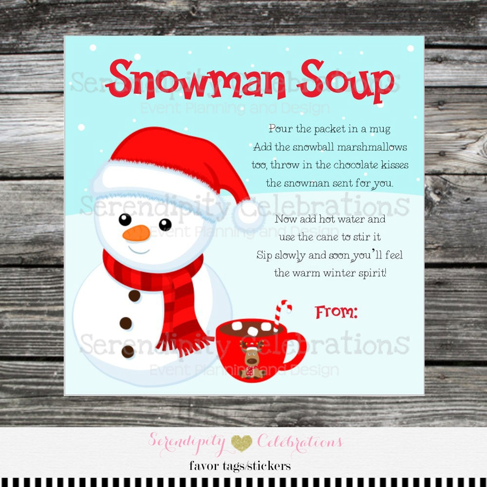 This is a graphic of Old Fashioned Free Printable Snowman Soup Labels