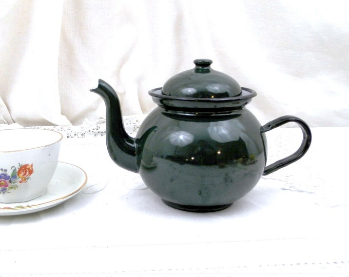 Vintage Dark Green Enamelware Tea Pot in Excellent Condition, Enamel, Picnic, Camping, Equipment, French Country Decor, Retro, Vintage, Home