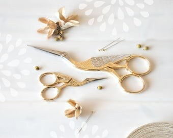 Large Crane Scissors - Large Shears - Gold Scissors - Large Sharp Scissor - Stork Scissors - Large or Small Scissors - Fancy Gold Scissors
