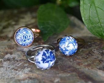 Blue and white porcelain rings, glass floral rings blue and white ring blue ceramic ring, blue and white china jewelry, portuguese tile ring