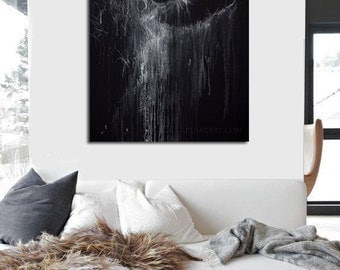 Large canvas art, Black and white print, Abstract giclee print, Ballerina wall art