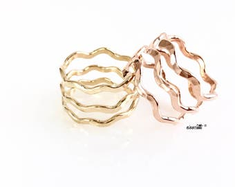 Triple Band 14k Gold Ring / Sterling Silver Wave Ring / Wavy Knuckle Ring / Gold Midi Ring / Adjustable Chevron Thumb Ring / Three Band Ring