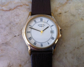 """Rotary Watch, Quartz Battery, Vintage Men's Watch, Round Watch, Roman Numerals, White Dial, """"Since 1895"""",  FREE SHIPPING"""