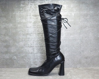 Vtg 90s Black Leather Block Heel Avant Garde Lace up Boots 39 / 6