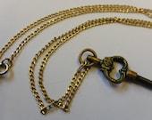 Ornate Pocket Watch Winding Key Necklace
