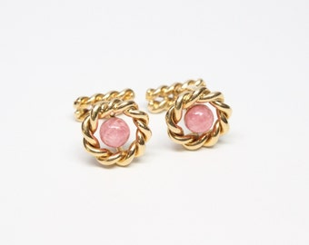 Vintage 18k Gold Boucheron Cuff Links with Rhodochrosite Cabochons - Outstanding Quality - Signed, Stamped