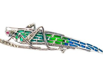 Art Nouveau 925 Sterling Silver Marcasite Plique a jour french enamel grasshopper brooch pin