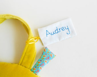 Personalized luggage tag | Add a name tag to your Zezling bag, backpack or coin purse | Embroidery custom name tag | fabric school id tag