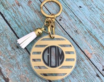 Monogram Tassel Keychain, Personalized Acrylic Keychain, Tassel, Lobster Claw Key Ring, Black and Gold