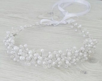 White Bridal Pearls Crown,Bridal Tiara,White Pearls Headpiece,Pearls and Crystals Hair Accessories,Wedding Headband,Bridal Crown by CyShell