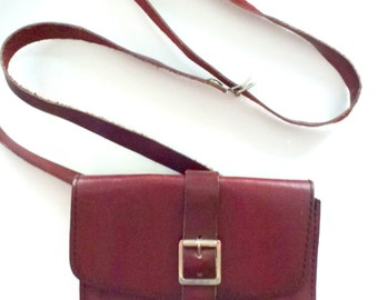 bordeaux red small leather shoulder bag / purse- authentic leather bag