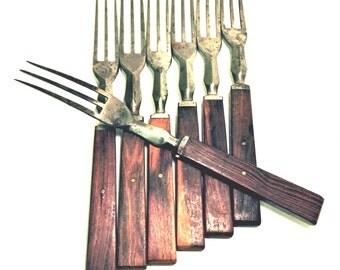 Cutlery Set of 3 Tine Forks Wood Handles Set of 7 Civil War Reenactors Farmstead Granny Forks Victorian Flatware