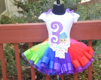 Shopkins (Cupcake Queen)  Purple Rainbow Birthday Outfit Ribbon trim tutu, Embroidered Shirt,