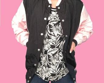 Pink Wind Breaker Jacket/ Pink and Black Jacket/ Black Wind Breaker Jacket/ Letter Jacket/ Pink Sleeved Jacket/ Spring Jacket/ active wear