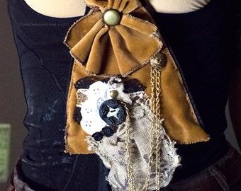 STEAMPUNK JABOT, steampunk jabot, brown, velvet, lace, gothic, victorian, burlesque, gothic lolita, dolly-kei, acessories, aristocrat