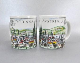 Vienna Austria Coffee Mugs Cups Schlogl Set of 2  Vintage Souvenirs