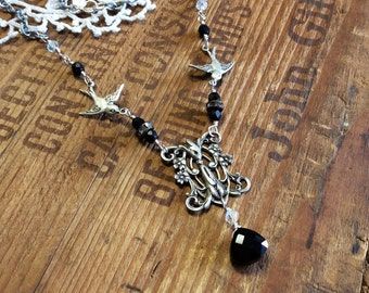 Two Swallows Assemblage Necklace bird necklace silver statement necklace