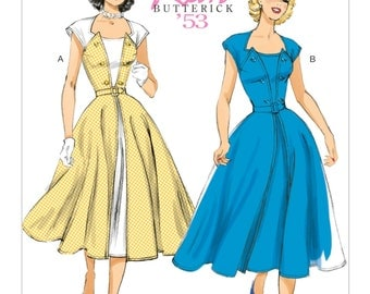 Butterick B6211 Misses' 1950s Pullover Wrap Dress and Belt Historical Costume Sewing Pattern