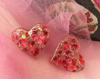Glitter and Confetti Heart Lucite Earrings
