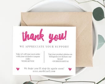 INSTANT Business Thank You Cards, Editable PDF Printable Packaging Inserts for Online Shops, Etsy Sellers | Pink Branding, Adelie | Download