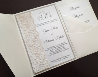 Lace Pocketfold Wedding Invitation, Lace Wedding Invite, Lace Wedding Invitation, JANE