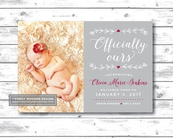 adoption announcement, officially ours, worth the wait, we adopted, birth announcement, new baby, rainbow baby, PRINTABLE or PRINTED CARDS