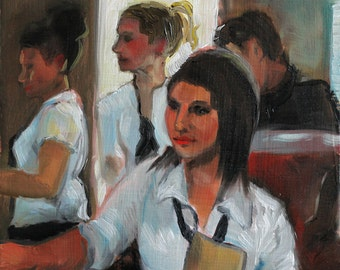 """Original Oil Painting 15cm x 15cm Small Painting 5.9"""" x 5.9"""" Waitresses In A Restaurant"""