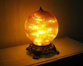 Funky Orange Table Lamp, ribbed glass gazing ball style accent lamp, unusual table lamps, small bedside lamps, orange table lamp, funky lamp