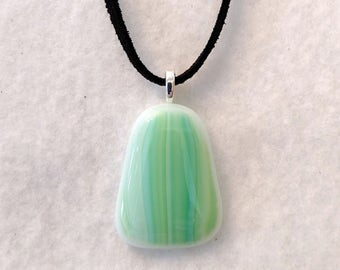 Green and Blue Fused Glass Pendant - Glass Necklace - Fused Jewelry - Green Necklace - Girlfriend Gift - Mothers Day Gift - Spring Jewelry
