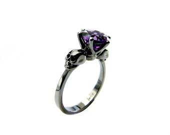 Skull Engagement Ring Womans Skull Ring Black Gold Ring Purple Stone Amethyst Pisces Birthstone Ring Memento Mori Ring Goth Engagement