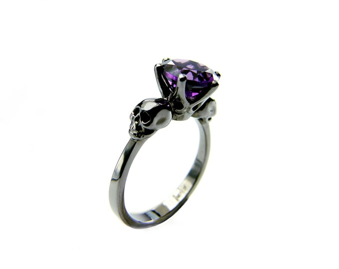 Black Gold Skull Engagement Ring with Natural Purple Amethyst Gemstone - All Sizes