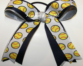 Softball Hair Bow, Navy Blue Silver Hairbow, Ponytail Holder Ties Elastics, Yellow Ball Ribbon, Team Mom Spirit, Coaches Choice, Bundle Bows