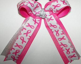 Cheap Price, Breast Cancer Bow, Sparkly Pink Cheer Bow, Awareness Ponytail Holder, Football Cheerleader Bow, Softball Volleyball Soccer Bows