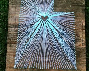 15x15 - State String Art - Utah (Salt Lake) - home decor - wall hanging