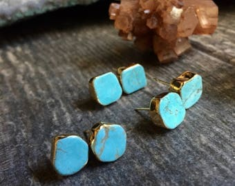Turquoise Earrings,Turquoise Stud Earrings Gold,Turquoise Studs,Turquoise Studs,Turquoise Jewelry,Turquoise,Studs,Gemstone Studs,Gold,Stud