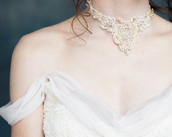 Gold Crystal Lace Necklace, Lace Choker, Statement Necklace, Beaded Necklace, Ivory Necklace, Wedding Necklace, Crystal Bridal Necklace  IVY