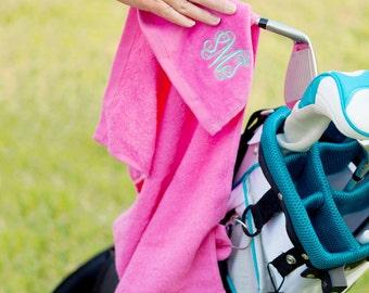 Hot Pink Golf Towel with Monogram, Monogram Golf Towel, Golf Towel with Monogram, Golf Towel,Womens Golf Gift, Gift for Golfer, Gift for Mom