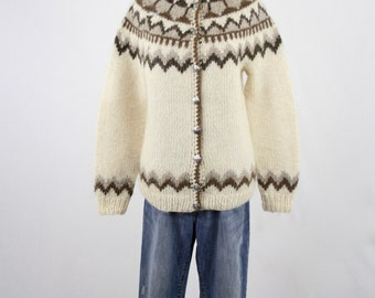 Vintage Natural Colors Nordic Wool Cardigan Sweater by Samband of Iceland Icelook