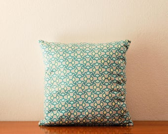 Retro aqua grey throw pillow cover with white canvas background fabric