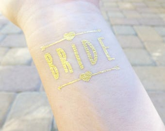 Bride Tattoo, Bachelorette Party Tattoo, Hen Party Tattoo, Bride Tribe Tattoos, Tattoos For Your Bridesmaids, Gifts For Her, Gold Tattoo