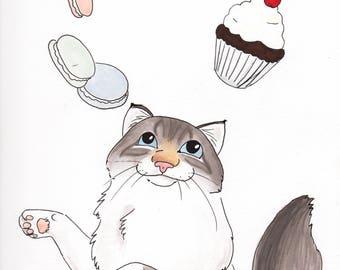 Custom Cat Portrait | Color Pet Portrait in Marker | Cute Cat Portrait Disney Style