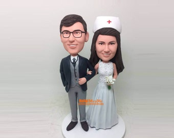 wedding cake topper gteau personnalis topper docteur topper custom bobblehead infirmire mariage bobblehead gteau gteaux de mariage ct g214 - Figurine Gateau Mariage Personnalis