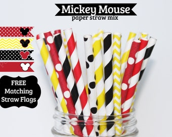 Mickey Mouse yellow red black Stripe PAPER STRAWS Minnie mouse  birthday party wedding baby shower cake pop sticks Bonus diy straw flags