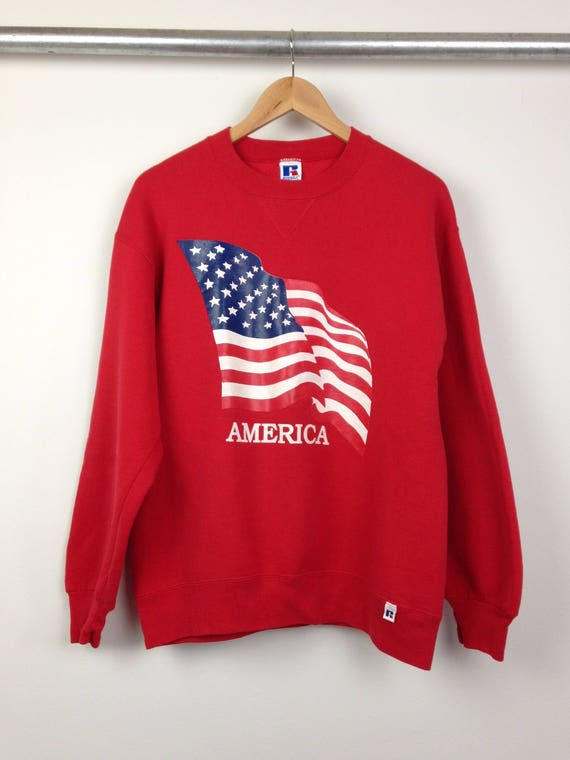 Vintage God Bless America Crew Neck Sweatshirt
