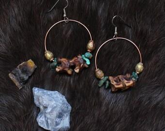 Awakening Snake Vertebrae Turquoise Tribal Hoop Earrings