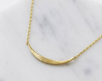 Curved Bar Necklace, Layering Necklace, Bar Necklace, Delicate Gold Necklace, 14K Gold Necklace, Dainty Necklace, Pendant Necklace, N386-G