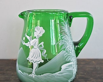 Sale Green Glass Mary Gregory Style Creamer